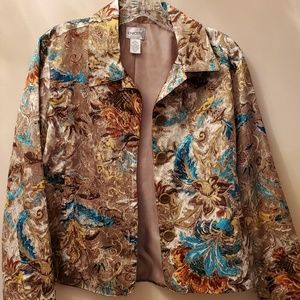 CHICOS multi teal brown gold Blazer top Size 1